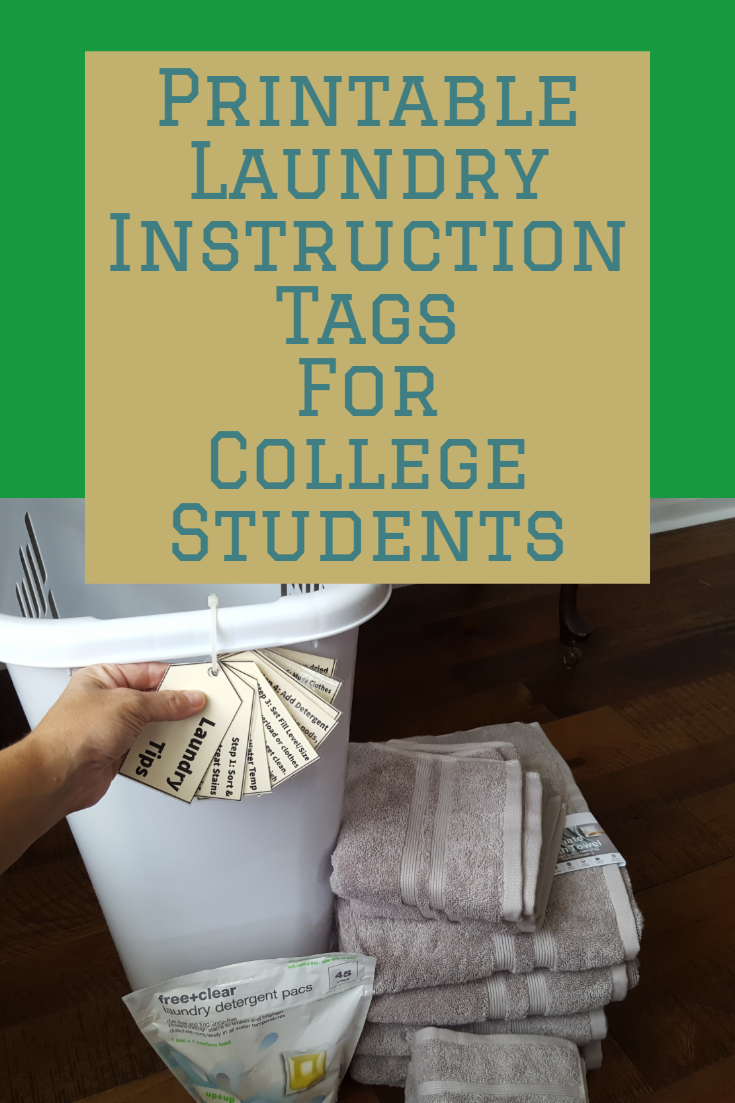 Printable  Laundry Instruction Tags for College Students